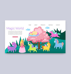 inscription magical world fabulous animals vector image