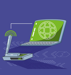laptop computer with browser and router vector image