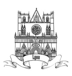 Lyon landmark famous city building travel france vector