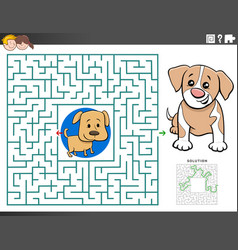 Maze educational game with puppy characters vector