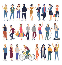 men and women flat design style cartoon characters vector image