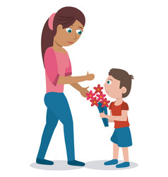 Mom son with bouquet flowers lovely vector