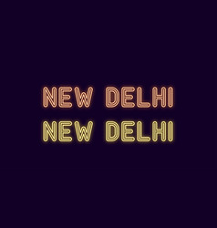 neon name of new delhi city in india vector image