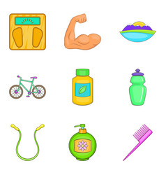 Nutritional supplement icons set cartoon style vector
