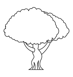Oak tree icon outline style vector