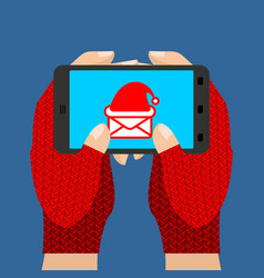 online ordering of christmas presents hands in vector image