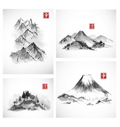 Paintings mountains hand drawn with ink vector