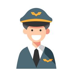 Pilot captain flat vector