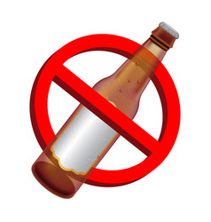prohibition signs with alcohol beer drink bottle vector image