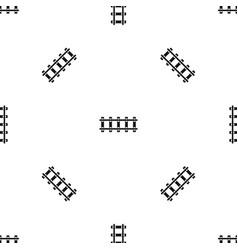 Railway pattern seamless black vector