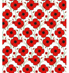 red poppy flower seamless pattern floral vector image