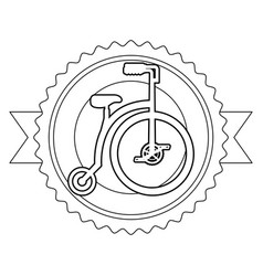 Retro bicycle emblem with ribbon vector