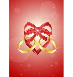 Ribbon heart with two gold rings vector