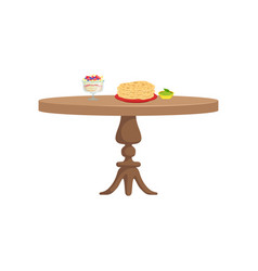 round wooden table with food for breakfast vector image