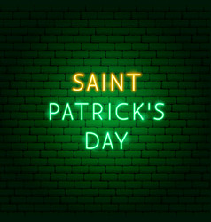 Saint patricks day neon text vector