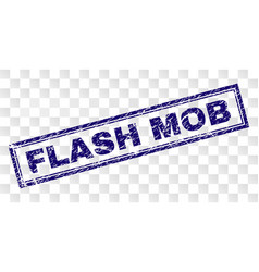 Scratched flash mob rectangle stamp vector