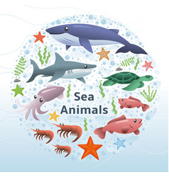 sea animals set vector image