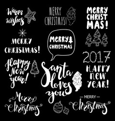 Set of Christmas and Happy New Year lettering vector image
