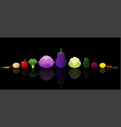 set of fresh vegetables on dark background vector image