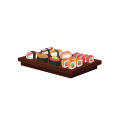 set of tasty sushi rolls on wooden plate vector image
