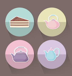 Set of teapots with slice of cake vector