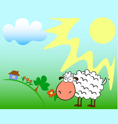 Sheep on the field vector