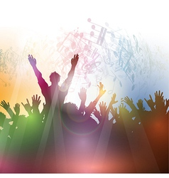 Silhouette of a party crowd on an abstract vector image