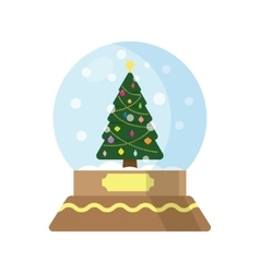 Snow globe with a Christmas tree inside vector image