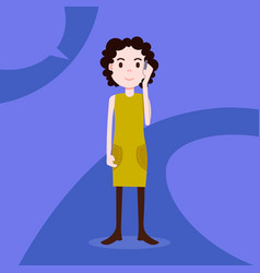 teen girl character serious phone call female vector image