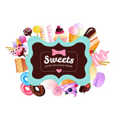 Trendy sweets frame background vector