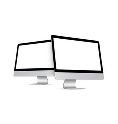 two modern desktop pcs with perspective side views vector image