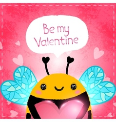 Valentines day greeting card with bee and heart vector image