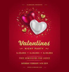 valentines day party flyer or poster design vector image