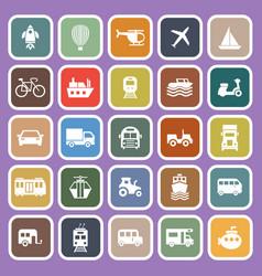 vehicle flat icons on purple background vector image