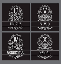 Vintage monograms set for label design u v w x vector
