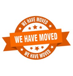 we have moved ribbon we have moved round orange vector image