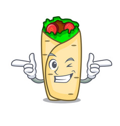 Wink burrito character cartoon style vector