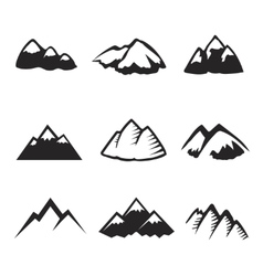 Mountains icons isolated Tourism silhuettes vector image vector image