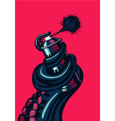 octopus tentacle is holding a graffity spray can vector image