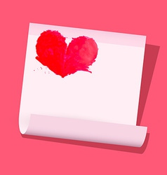 Red Heart on Paper Sheet on Pink Background vector image