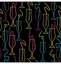 Seamless pattern of glasses neon colors on a vector