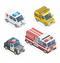 Set of the isometric cars vector image vector image