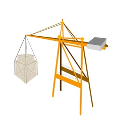 Two Shipping Box Being Hoisted By A Crane vector image vector image