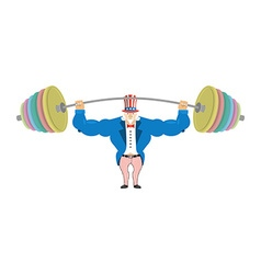 Uncle Sam and sports barbell Powerful Uncle Sam vector image