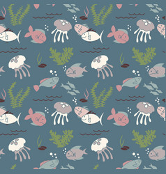underwater fish life seamless pattern vector image vector image