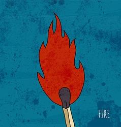 Cartoon burning match Vintage vector image