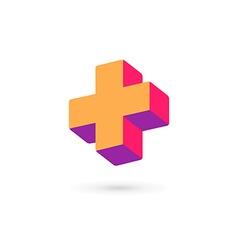 Cross plus medical logo icon design template vector image vector image