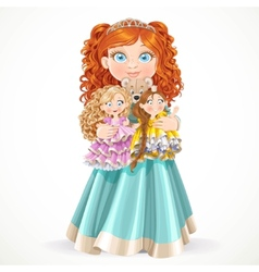 Cute little red-haired princess girl holding in vector image vector image