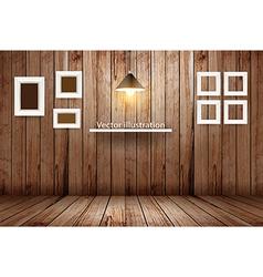 Empty wooden room template design vector image vector image