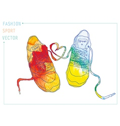 fashion sneakers watercolor vector image vector image